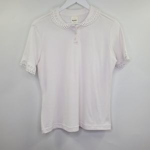 Blair White Scalloped Cutout Detail Polo Shirt